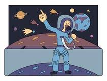 Piosenkarz w przestrzeni przed kometami i planetami Przewdonik przez Univers Zajęcia przyszłość Komiczny wektor ilustracji