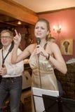 Piosenkarz, wokalista wystrzał grupa koktajl, Catherine Symagina Zdjęcia Stock
