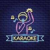 Piosenkarza mikrofonu karaoke neonowy royalty ilustracja