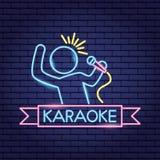 Piosenkarza mikrofonu karaoke neonowy ilustracji