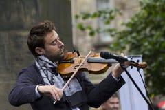 Piosenkarzi i muzycy przy krana festiwalem, Edynburg, Szkocja Obraz Royalty Free
