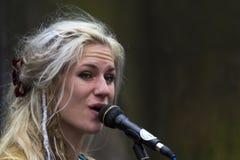 Piosenkarzi i muzycy przy krana festiwalem, Edynburg, Szkocja Obrazy Stock