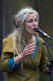 Piosenkarzi i muzycy przy krana festiwalem, Edynburg, Szkocja Fotografia Royalty Free