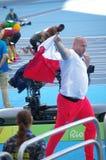Piotr Malachowski,一个波兰铁饼运动员在里约2016年 库存照片