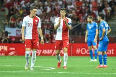 Piotr Zielinski L and Robert Lewandowski R after scoring goal. WARSAW, POLAND - JUNE 10, 2019: Qualifications Euro 2020  match Poland - Israel 4:0. Piotr royalty free stock photos