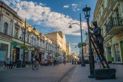 Piotrkowska街在罗兹 波兰 免版税库存图片