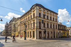 Piotrkowska街 主要购物街道和代表、购物和娱乐散步 库存图片