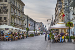 Piotrkowska street in the evening Royalty Free Stock Photos