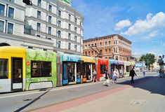 Piotrkowska Street in Lodz . The longest shopping street in Poland.Stop tram Stock Photography