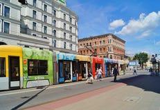 Piotrkowska Street in Lodz . The longest shopping street in Poland.Stop tram Royalty Free Stock Photo
