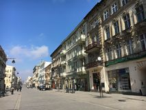 Piotrkowska street in Lodz, Poland Royalty Free Stock Photography