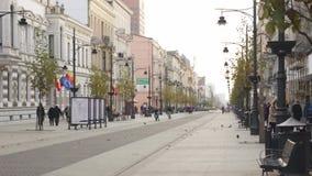 Piotrkowska ulica w Łódzkim, Polska 4k zdjęcie wideo