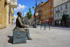 Piotrkowska ulica Zabytek Wladyslaw Reymont 1867-1925, Polski powieściopisarz i 1924 nagroda nobla laureat, zdjęcie stock