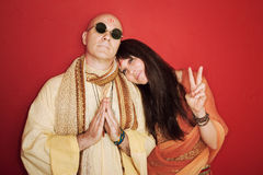 Pious Guru With Woman Stock Photo