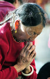 Pious tibet prayer in jokhang temple Stock Images