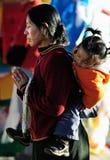 Pious tibet prayer in jokhang temple