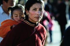 Pious tibet prayer in jokhang temple Stock Photos
