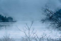 Piova e appanni sul lago del Nord coperto di ghiaccio nell'inverno fotografie stock
