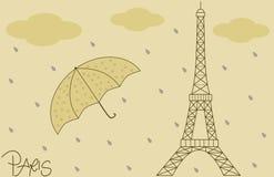 Piova illustrazione d'annata del fondo della torre Eiffel sulla retro Immagini Stock Libere da Diritti