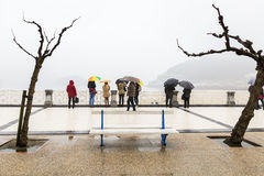 Piovendo sulla costa di San Sebastian Fotografia Stock
