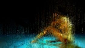 Piovendo sulla finestra fuori dello studio illustrazione vettoriale