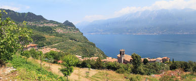 Piovere village and lookout to garda lake, italy. Piovere village and lookout to garda lake, panoramic landscape italy royalty free stock photography