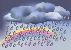 Piovoso con il Rainbow, tempo Immagine Stock Libera da Diritti
