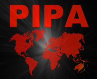 PIPA conception texts and world map. Trade Agreement PIPA about internet royalty free stock photo
