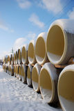 Pipe. Winter scene pipes covered with snow royalty free stock images