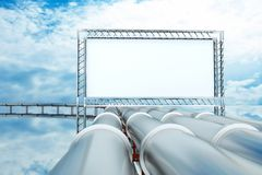 Pipe. A pipelines with metal billboard Stock Photography