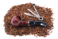 Pipe, accessory and tobacco Stock Photos