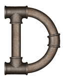 Pipe alphabet letter. Industrial metal pipe alphabet letter D stock image