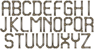 Pipe alphabet letters. Industrial metal pipe alphabet letters stock image
