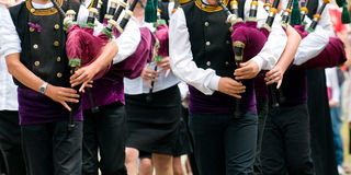 Pipe band in brittany Stock Photo