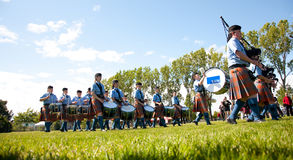 Pipe band performing at Highland Games, Victoria, BC Royalty Free Stock Photography
