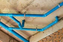 Pipe bleue de PVC Photo libre de droits