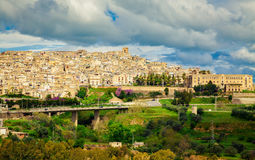 Pipe bridge and Caltagirone Stock Image