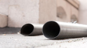 Pipe at building site Royalty Free Stock Image