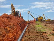 Pipe Burying Operation at Gas Pipeline Construction. Site royalty free stock photos