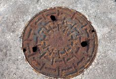 Pipe cap circle top view. stock photos