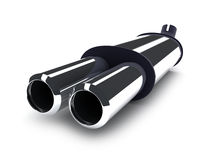 Pipe car. Exhaust-pipe on isolated background (done in 3d Royalty Free Stock Images