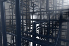 Pipe chaos. 3D rendering of a pipe maze, looking very industrial Royalty Free Stock Photos