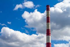 CHP pipe against the sky. Pipe CHP against the sky in Ukraine Royalty Free Stock Photography