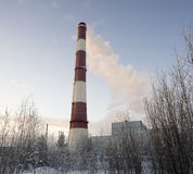 Pipe city boiler house with smoke coming . Stock Images