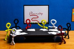 Pipe Cleaner crafts. pipe cleaner people concept for Cultural diversity in Business.