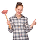Pipe clogging. Full isolated studio picture from a young woman with plunger Royalty Free Stock Photo
