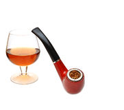 Pipe and cognac glass Royalty Free Stock Photo