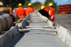 Pipe Concreting at Gas Pipeline Construction Site royalty free stock photos