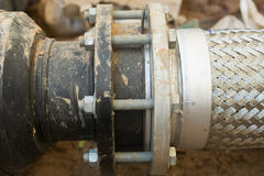 Pipe connection for underground suction pipe. Royalty Free Stock Images