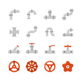 Pipe connector, water pipe fitting flat vector icons for plumbing and piping work Royalty Free Stock Photography